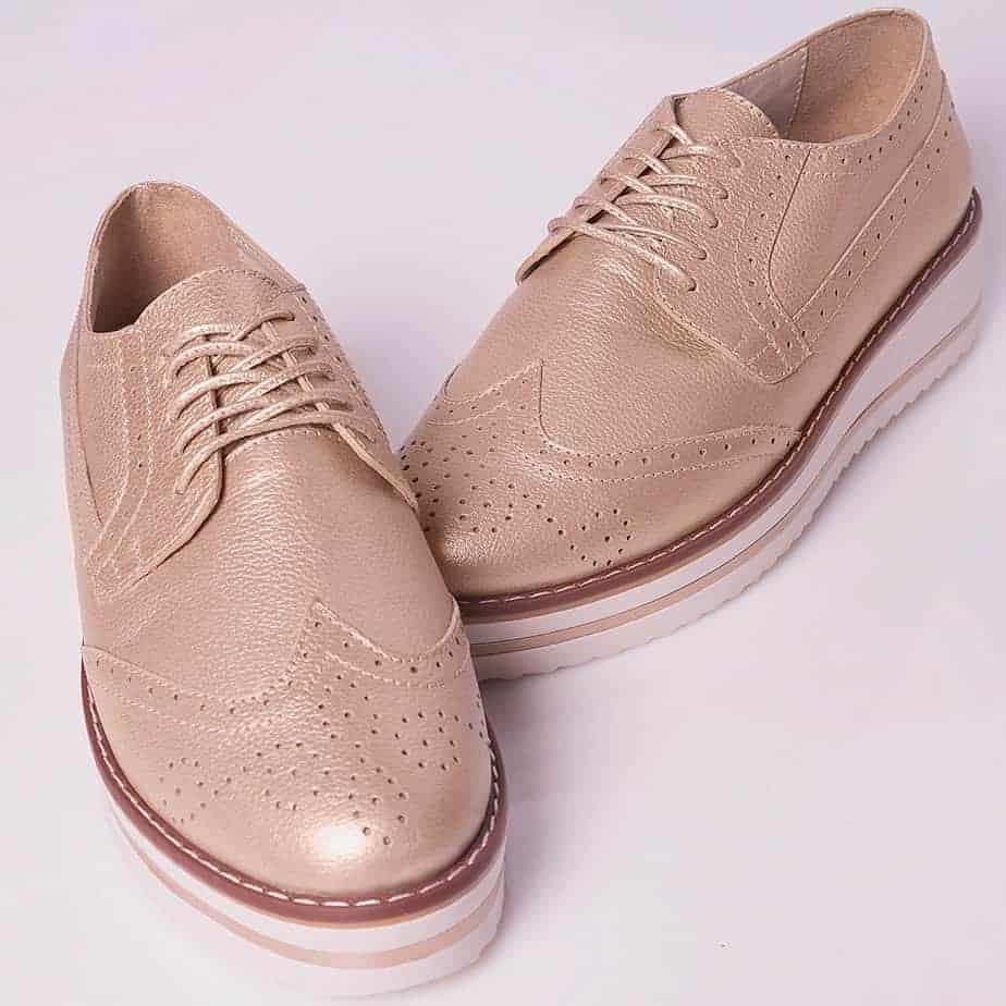 aa5243af35 Zapato Tipo Oxford Para Mujer Capellada en Cuero Color Dorado - Envió y  devolución GRATIS en