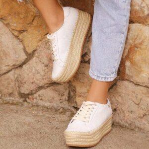 Tenis para mujer en cuero blanco y plataforma en yute - Compra ahoratenis para mujeren nuestra tienda online. Envíos gratis en Colombia - DFV Leather Shoes and Bags